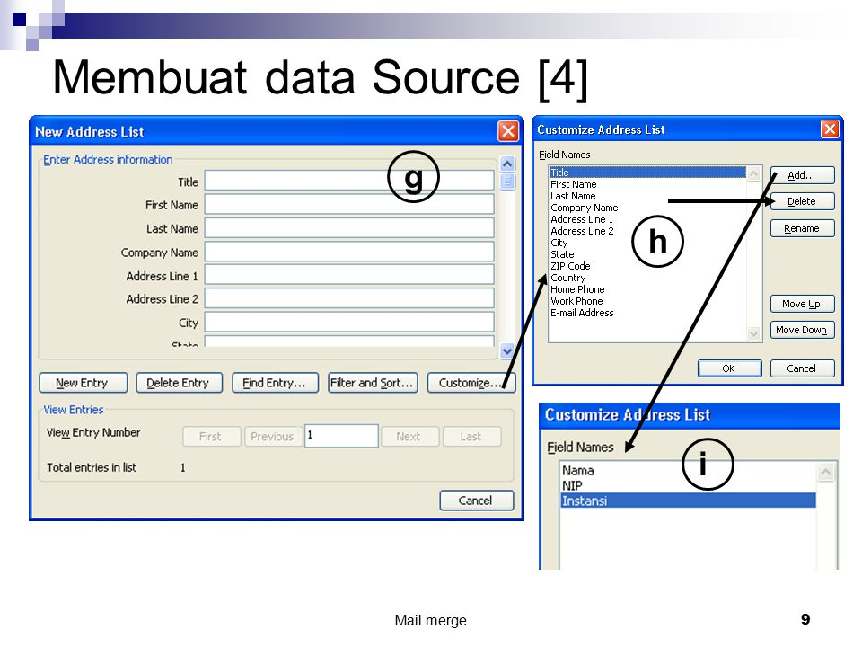 Membuat data Source [4] g h i Mail merge